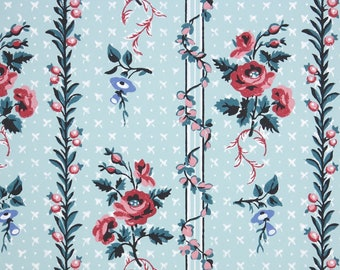1950s Vintage Wallpaper by the Yard Kitchen Vintage Wallpaper Red Cherries on Blue Gingham Check Stripes