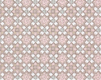 1940s Vintage Wallpaper by the Yard - Pink Gray and White Geometric