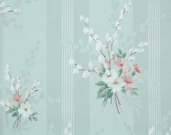 1930s Vintage Wallpaper By The Yard Pink And White Flowers Etsy
