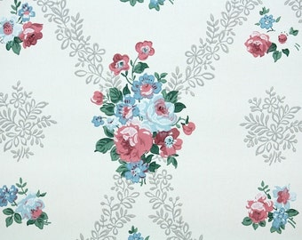 1950s Vintage Wallpaper By The Yard Blue Roses And Silver
