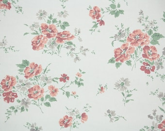 1950s Vintage Wallpaper by the Yard - Floral Vintage Wallpaper Pink and Gray Blossoms