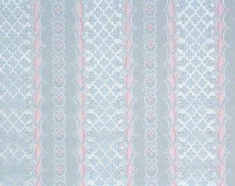 1940's Vintage Wallpaper - Pink Blue and Silver Lace Stripe