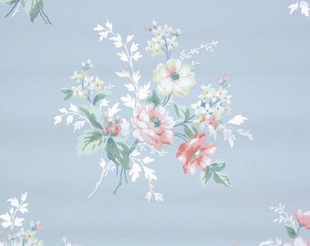 1940s Vintage Wallpaper by the Yard - Floral Wallpaper Pink Roses on Blue