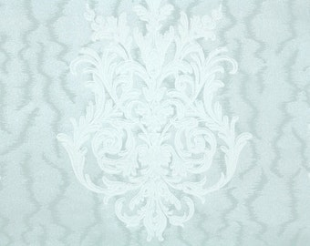 1940s Vintage Wallpaper by the Yard -  Blue Moire and White Damask