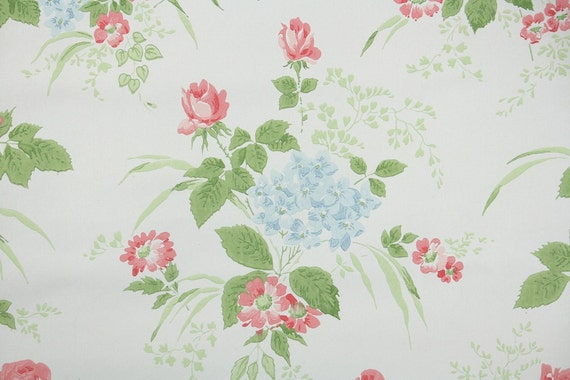 1960s Vintage Wallpaper By The Yard Pink Roses And Blue