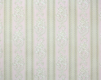 1930s Vintage Wallpaper by the Yard - White Rose and Pink Ribbon Stripe