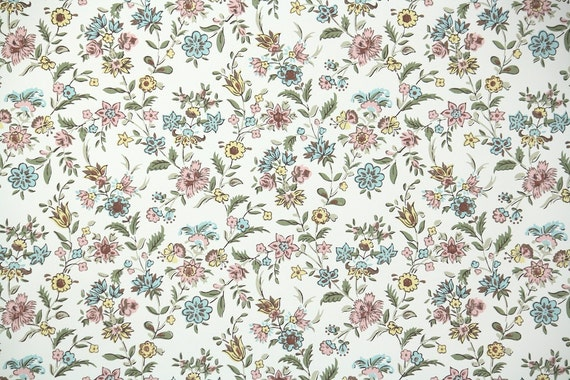 1940s Vintage Wallpaper By The Yard Floral Wallpaper With Pink And Blue Mini Floral Chintz On White