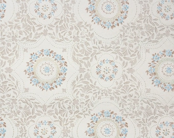 1950s Vintage Wallpaper by the Yard - Blue and Brown Ring of Flowers with Tiny Brown Leaves
