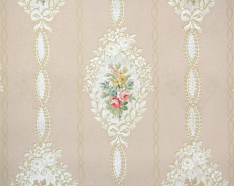 1930s Vintage Wallpaper by the Yard - Antique Wallpaper Pink Roses and Ribbons