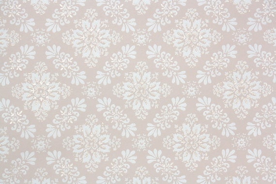 1940s Vintage Wallpaper By The Yard Pink With White Texture Geometric Design