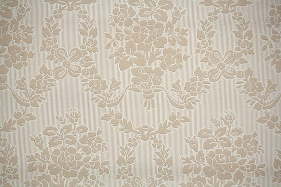 1940s Vintage Wallpaper By The Yard Brown Floral Damask