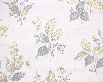 1950s Vintage Wallpaper by the Yard - Botanical Vintage Wallpaper Midcentury Metallic Gold and Gray Leaves on White
