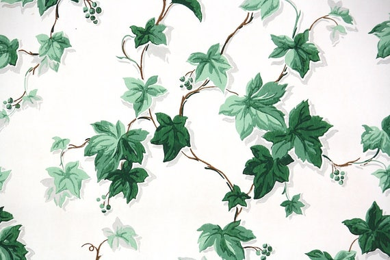1940s Vintage Wallpaper By The Yard Green Ivy On White