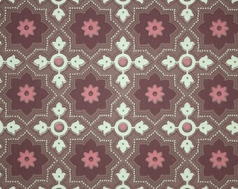 1940s Vintage Wallpaper by the Yard - Yellow Burgundy and Pink Geometric
