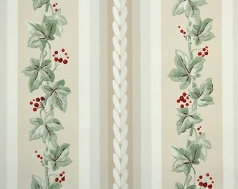 1930s Vintage Wallpaper by the Yard - Ivy Stripe with Red Berries