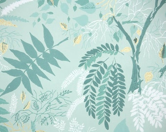 1950s Vintage Wallpaper by the Yard - Botanical Vintage Wallpaper with Mint Green and White Leaves and Trees