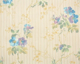 1920s Vintage Wallpaper by the Yard - Floral Wallpaper with Lavender and Blue Flowers