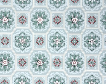 1940s Vintage Wallpaper - Blue Red Green Snowflake Geometric