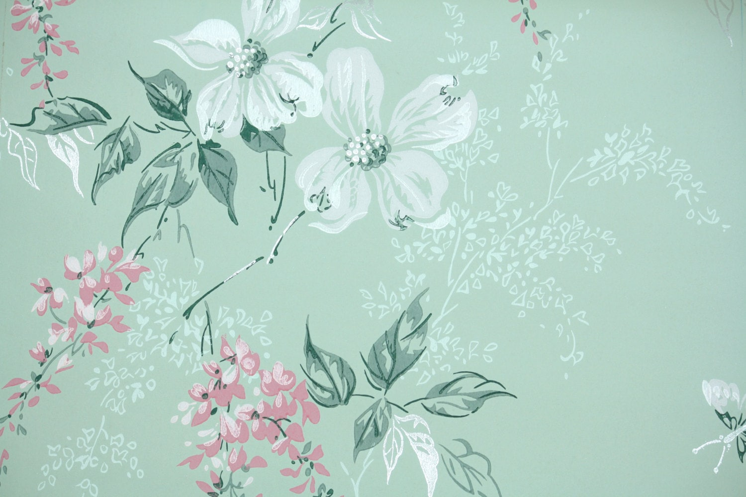 1960s Vintage Wallpaper By The Yard Floral Vintage Wallpaper Etsy