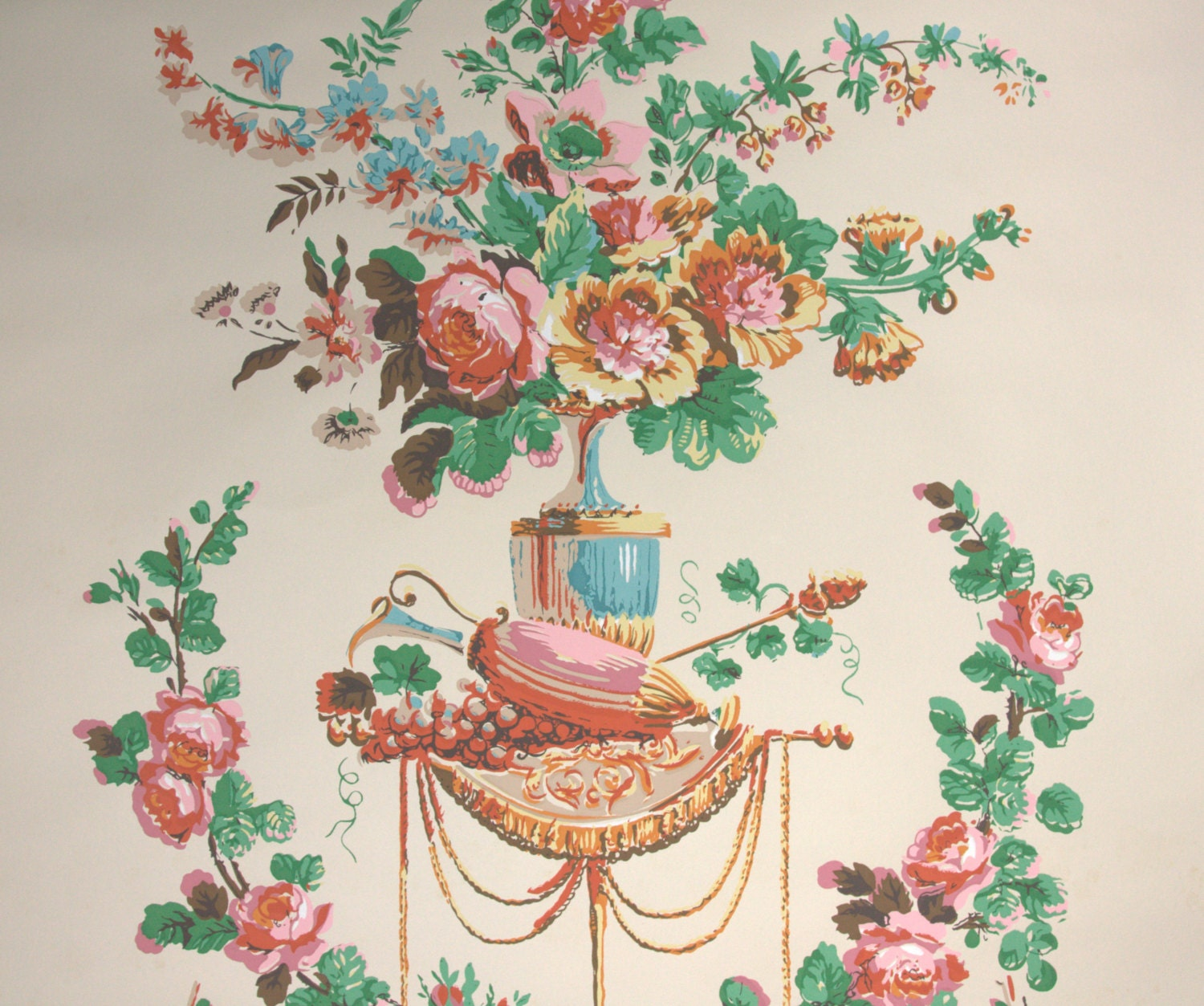 1950s Vintage Wallpaper By The Yard Victorian Floral Etsy
