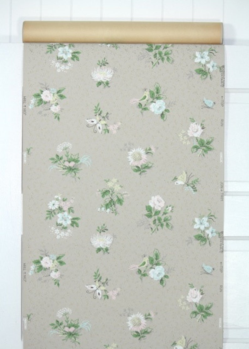 1940s Vintage Wallpaper By The Yard Floral Wallpaper With Etsy