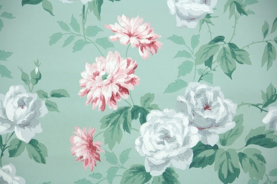 1940s Vintage Wallpaper By The Yard Floral With