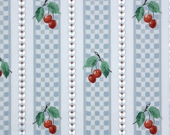 1950s Vintage Wallpaper by the Yard - Kitchen Vintage Wallpaper Red Cherries on Blue Gingham Check Stripes