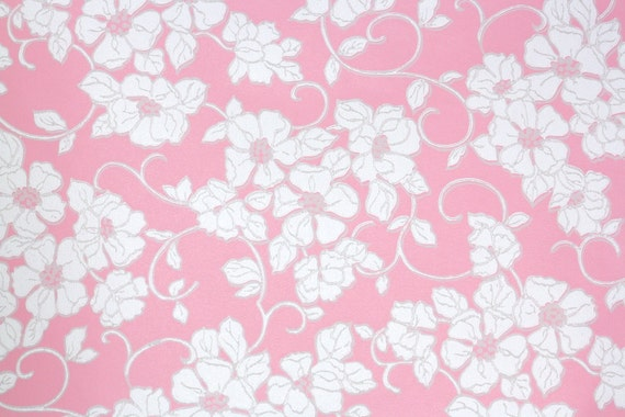 1960s Vintage Wallpaper By The Yard White Flowers On Pink Retro Wallpaper