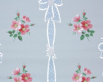 1940s Vintage Wallpaper by the Yard - Pink Flowers on Blue with Ribbons and Bows