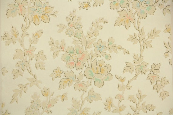 1920s vintage wallpaper antique floral aqua coral and etsy image 0 mightylinksfo