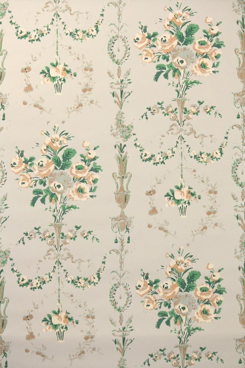 1950s Vintage Wallpaper By The Yard Victorian Floral Design Etsy