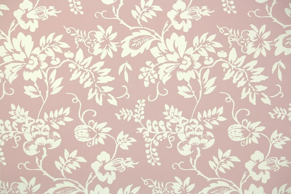 1950s Vintage Wallpaper By The Yard Floral Wallpaper With Pink And Ivory Flowers Nancy Mcclelland Vintage Wallpaper Bonne Adventure