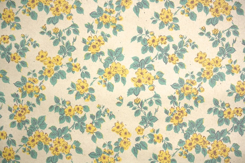 1940s Vintage Wallpaper By The Yard Vintage Kraft Paper Extra Wide Yellow Wild Rose
