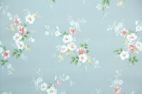 1930s Floral Vintage Wallpaper Pink Yellow Hydrangeas on Blue Silver Stripes