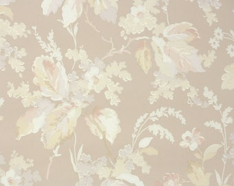 1950s Vintage Wallpaper by the Yard - Yellow White and Beige Leaf and Floral