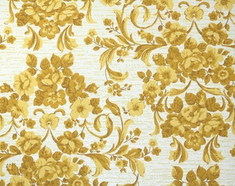 1960s Vintage Wallpaper by the Yard - Yellow Roses Damask