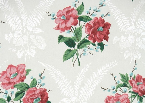 1940s vintage wallpaper floral wallpaper with large etsy image 0 mightylinksfo