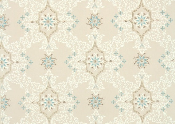 1950s Vintage Wallpaper By The Yard Blue And White Geometirc With Metallic Gold Accents On Beige
