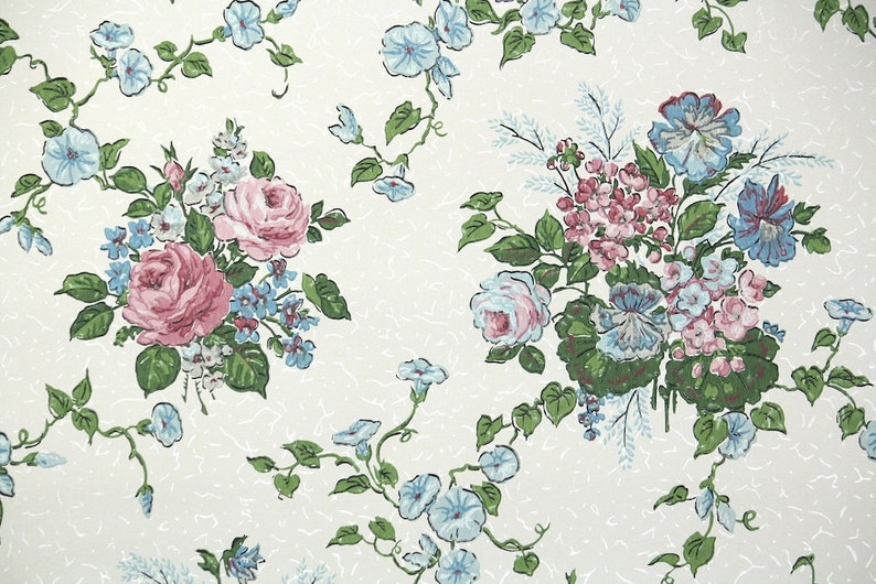 1960s Vintage Wallpaper by the Yard  Floral Wallpaper with image 0