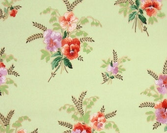 1930's Vintage Wallpaper by the Yard - Vintage Pansy Wallpaper