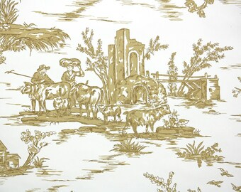 1950s Vintage Wallpaper by the Yard - Gold and White Toile