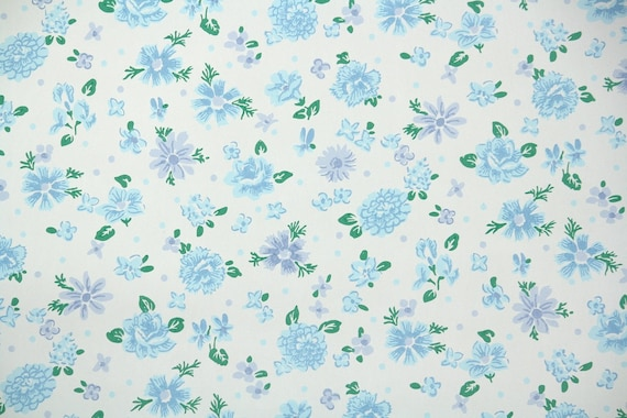 1940s vintage wallpaper floral wallpaper with blue and etsy image 0 mightylinksfo