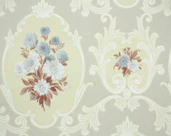 1950s Vintage Wallpaper by the Yard -  Wallpaper with Blue and White Flowers on Yellow and Gray