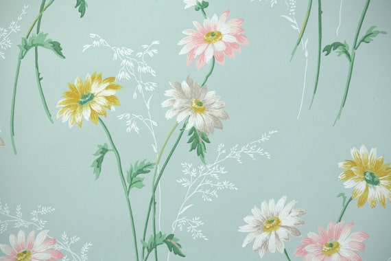 1940s Vintage Wallpaper Pink Yellow And White Daisies