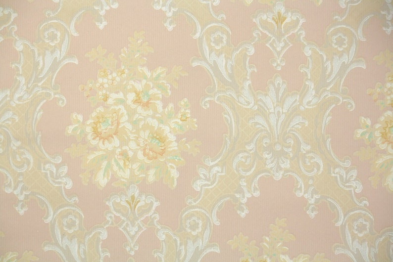 1930s Vintage Wallpaper By The Yard Victorian Roses Pink Yellow And White