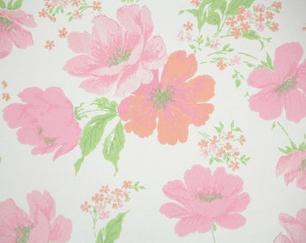 1960s Vintage Wallpaper by the Yard - Large Pink and Coral Flowers on White
