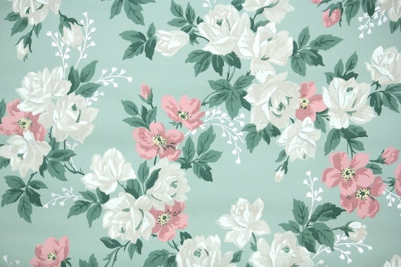 1940s Vintage Wallpaper By The Yard Floral Wallpaper With Large White Roses And Pink Flowers On Green