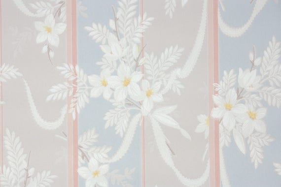 1940s Vintage Wallpaper By The Yard Floral Wallpaper White Flowers And Ribbons On Pink Gray Blue Stripes