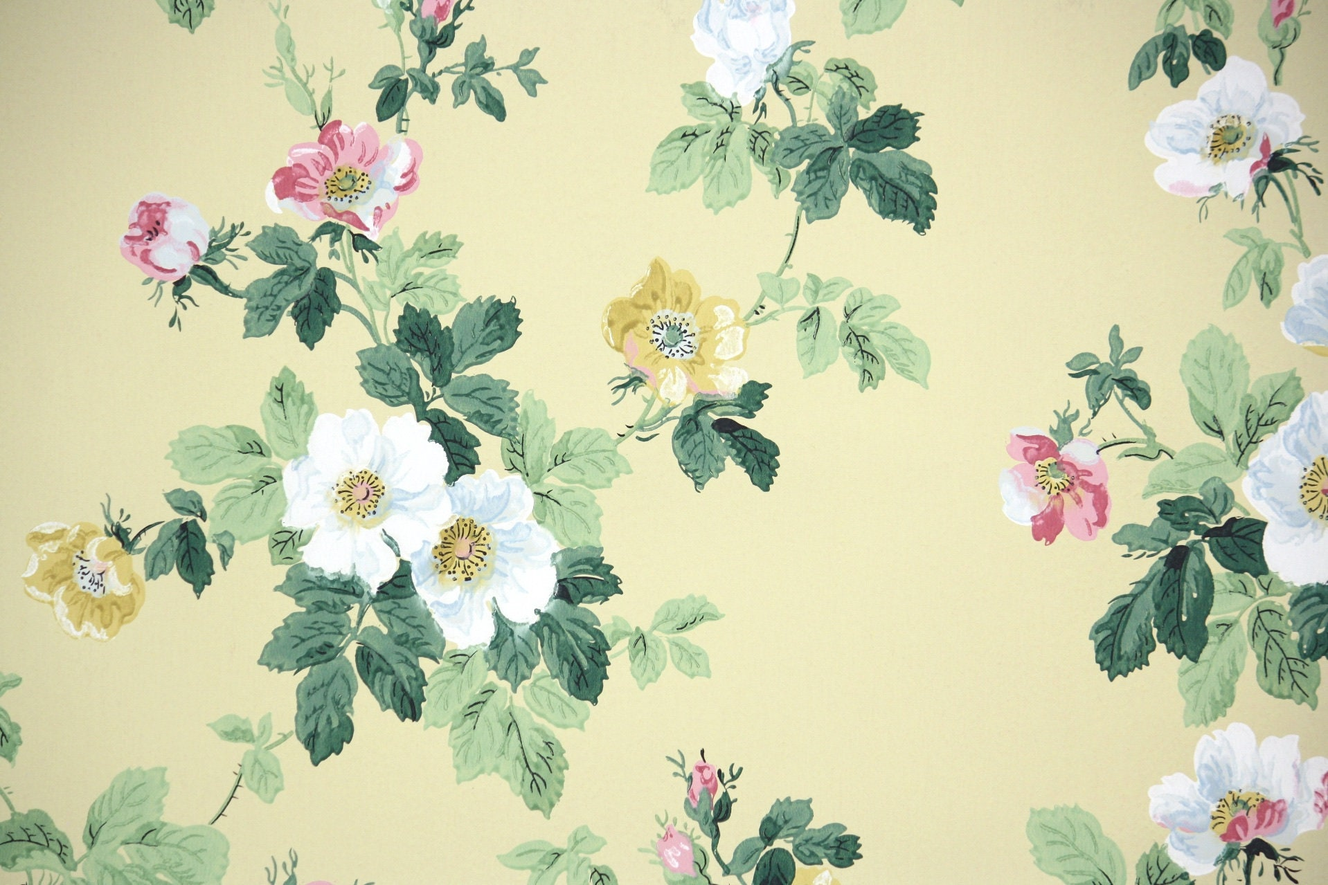 1950s Vintage Wallpaper By The Yard Floral Vintage Wallpaper Etsy