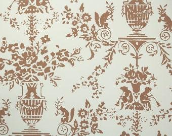 1950s Vintage Wallpaper by the Yard - Brown and White French Floral With Squirrels and Imps Nancy McClelland